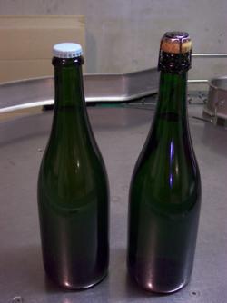 Bouteille avant (capsule-non dosée) et Après dégorgement (dosée-bouchon-muselet)