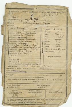 Octave AUGÉ Né le 9 septembre 1889 Profession vigneron