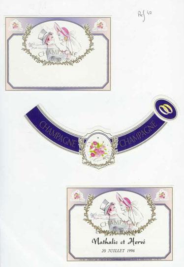Etiquette stylisée - Mariage - REF M3