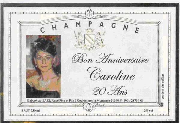Etiquette de champagne avec photo