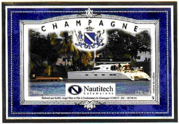 Etiquette de champagne avec photo bleu
