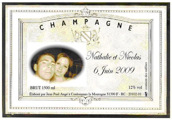 Etiquette de champagne personnalisée avec photo