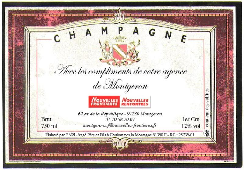 Etiquette de champagne cadre rose